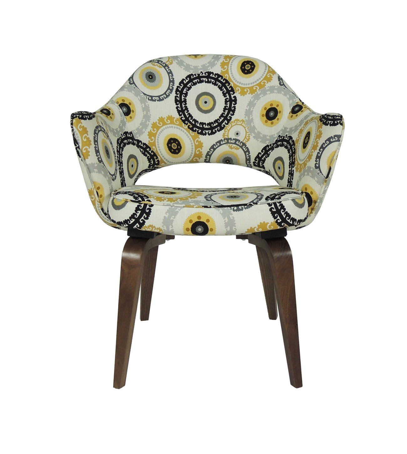 Saarinen wood-leg dining chair in designer fabric